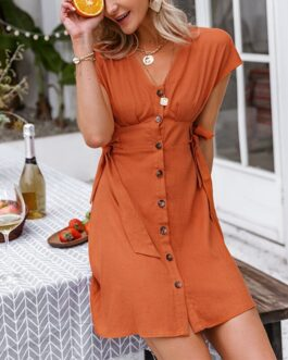 Casual V-neck solid button Fashion Vestidos short sleeve dress