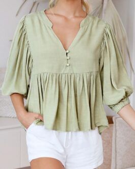 Casual pleated lantern sleeve Button satin elegant blouse