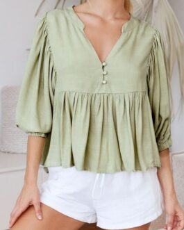 Casual pleated lantern sleeve Button satin elegant blouse