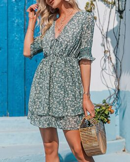 Casual printed V-neck short sleeve lace short dress