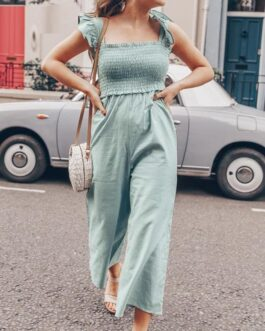 Casual straps wide leg jumpsuits