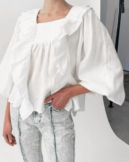 Chic lantern sleeve square neck blouse