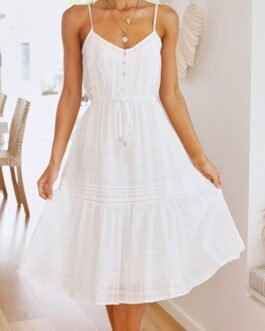Cotton V-neck ruffled A-line Elegant lace-up button dress