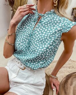 Elegant polka dot lace up ruffled flounces blouse