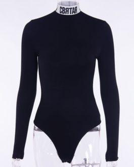 Fashion Mock Neck Letter Printing Long Sleeve Bodysuit