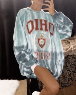 Fashion Round Neckline Letter Print Long Sleeve Sweatshirt
