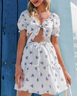 Floral print V-neck puff sleeve ruffle short top skirt suit sets