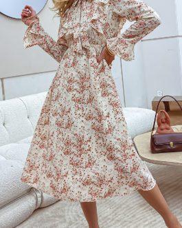 Floral print casual Bowknot ruffle sleeve midi dresses