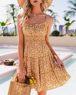 Floral print open back High waist ruffle short dress
