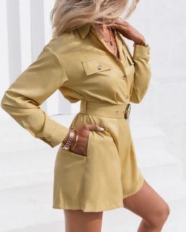 High street lapel fashion romper