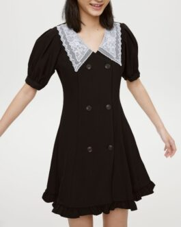 Lacework Double-Breasted Short Sleeve Dress