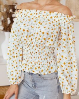Off shoulder print chiffon ruffle casual short top