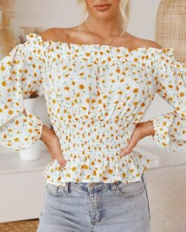 Off shoulder print chiffon ruffle casual short top