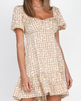 Plaid Daisy Print Square Neck Puff Sleeve Short Dresses