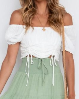 Pure color drawstring Puff sleeves off shoulder blouse