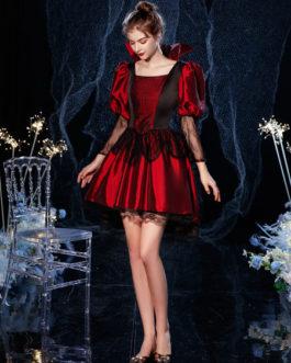Rococo Victorian Retro Lace Cotton Cosplay Carnival Costume Dress