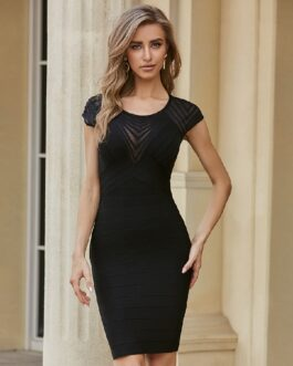 Sexy Backless Short Sleeve Body con Runway Club Party Dresses