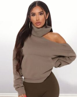 Sexy Cool Shoulder Rib Knit Solid Color Sweatshirt