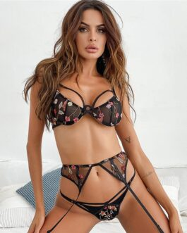 Sexy Embroidered Lace Underwire Bra Three Pieces Set