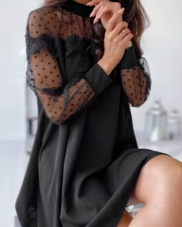 Sexy Gauze Dots Long Sleeve Dress