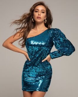 Sexy Long Sleeve Sequins One Shoulder Mini Dress