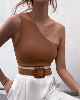 Sexy irregular collar crop tops
