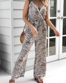 Sexy leopard print V-neck casual Fashion lace-up jumpsuit