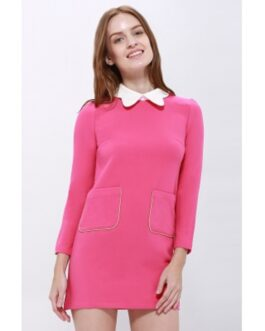 Simple Design Peter Pan Collar Pockets Embellished Long Sleeve Cotton Blend Dress