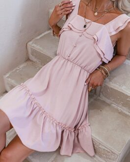 Sleeveless pleated solid A-line short dress