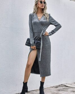 Solid Vintage V Neck Knitted Long Sleeve Dress