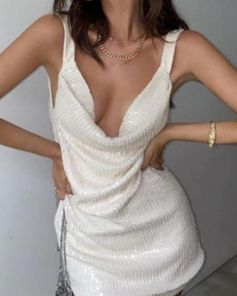 Solid party backless mini dresses