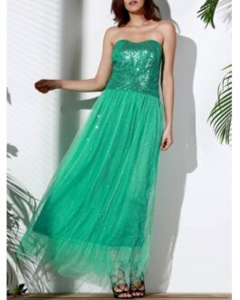 Strapless Sequin Long Swing Prom Evening Dress