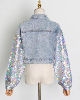 Trendy Patchwork Sequins Short Denim Jacket