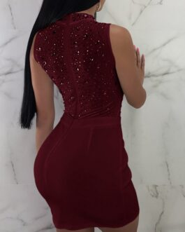 Very Sexy O-Neck Pencil Skinny Sequins Bodycon Dress