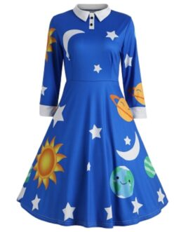 Vintage A-line Dress Peter Pan Collar Long Sleeve Planet Print for Party
