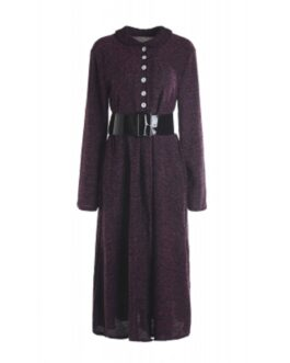 Vintage Turn-Down Collar Long Sleeve A-Line Dress