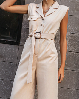 Vintage sash belt solid jumpsuit