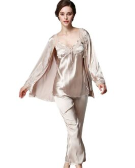 3pcs/set Elegant Solid Color Silk Pajamas