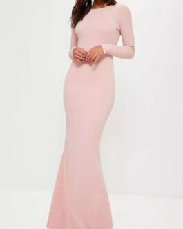 Maxi Dress Backless Party Dress Long Sleeve Sheath Semi Formal Dress
