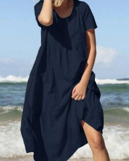 Beach Cotton Loose Casual Dress with Pockets