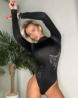 Bodysuit Long Sleeves Polyester Sexy Top