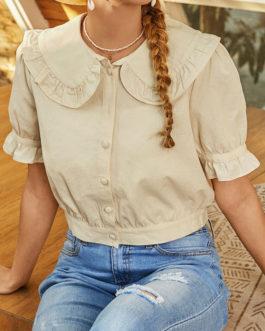 Bohemian Solid Color Button Short Sleeve Blouse