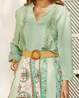 Bohemian Solid Color Lace Patch Pleated Long Sleeve V-neck Casual Blouse