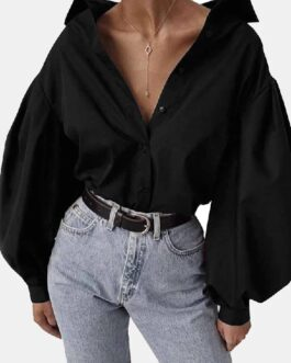 Chic Lantern Sleeve Solid Color Casual Blouse Shirts