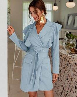 Chic Polyester Knotted Turndown Collar Long Sleeves Blazer Dress