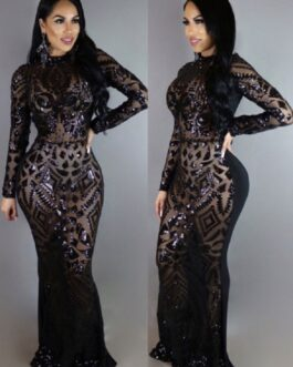 Club Maxi Dress Sequins High Collar Long Sleeve Formal Dresses