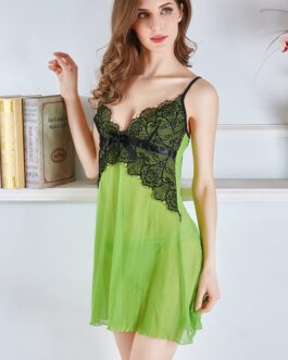 Contrast Lace Patchwork Nightwear Mesh Dress