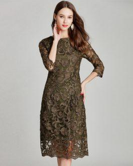 Elegant Flower Print Lace Vintage Style Dresses
