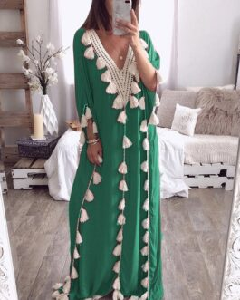 Elegant Tassel Patchwork V-neck Kaftan Casual Robe Long Maxi Dress