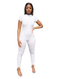 European fashion solid color casual bodysuit